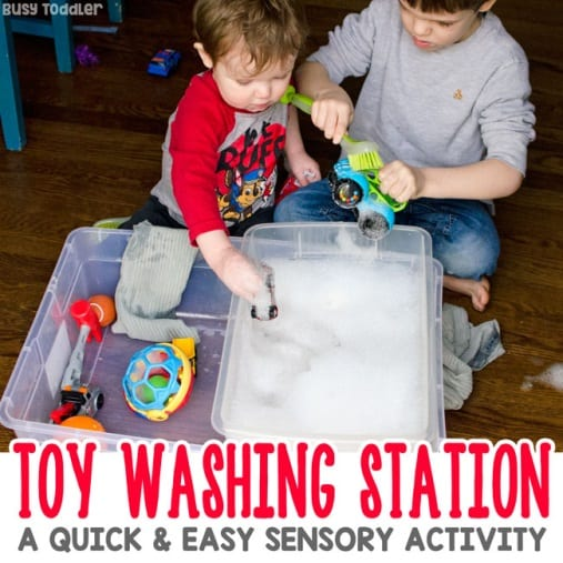 Toy Washing Station: A Quick & Easy Activity - Busy Toddler