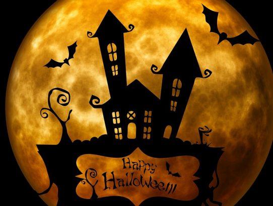moon with house happy halloween
