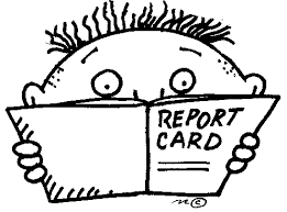 boy looking at report card
