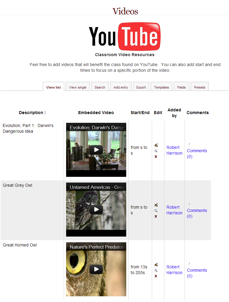 Youtube Video Gallery for Moodle Database Preset