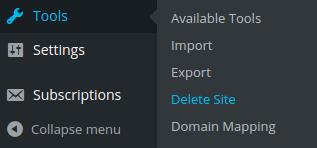 Delete a Site