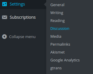 settings discussion menu