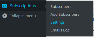 subscriber settings menu